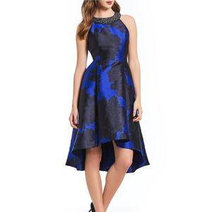 Adrianna Papell floral print jacquard hi-low dress